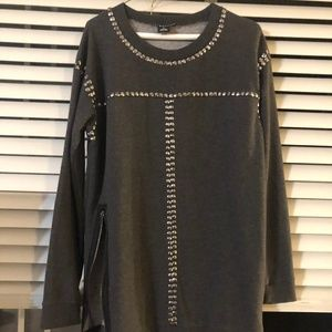 Trouve Metal Embellished Tunic Sweater
